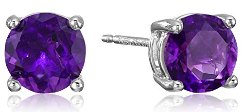Amazon Essentials Sterling Silver Round African Amethyst Birthstone Stud Earrings (February)