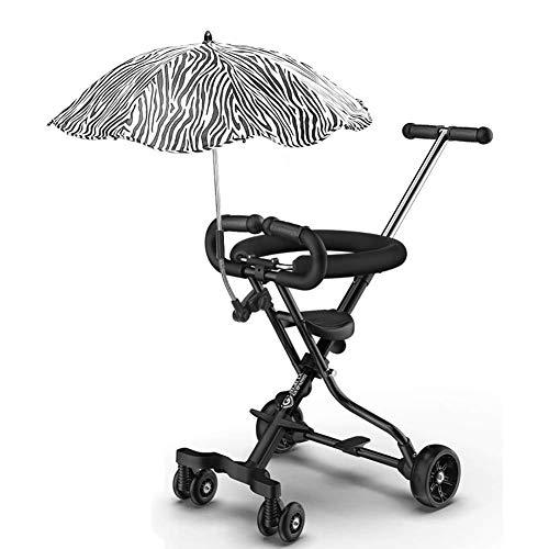 JINHH Triciclos para niños pequeños, Triciclo Plegable para niños pequeños con sombrilla, Cochecito liviano para Viajes/avión, Edad 1-6 años (Color: Blanco)