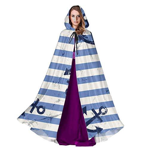 Rtosd Vektor Nahtlose Muster Anker und Lenkrad Cape Mäntel Mantel Cape Kleid 59 Zoll für Weihnachten Halloween Cosplay Kostüme