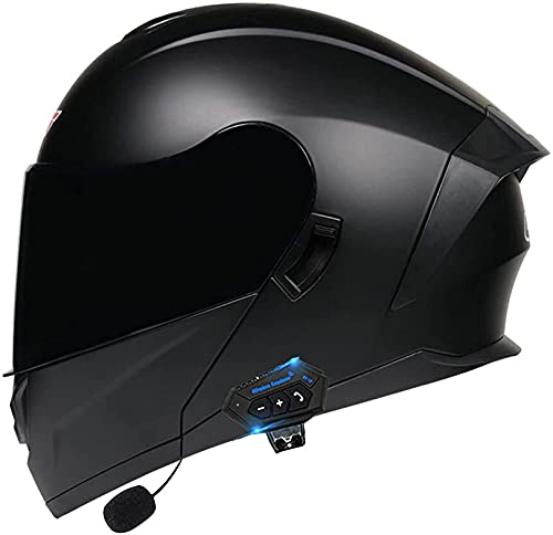 XWW Casco Integral para Motocicleta, Motocicleta, ciclomotor, Calle, Bicicleta, Carreras, Casco abatible con Visera Solar, Espacio Bluetooth para Adultos, jóvenes, Hombres y Mujeres, Casco aprob