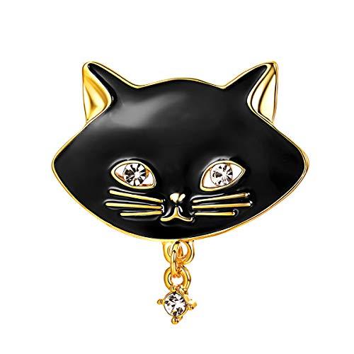 FOCALOOK Brosche schwarz Emaille Katze Kopf Form Brosche Pin vergoldet Tier Anstecknadel Anzug Pullover Jacke Dekoration Accessoire für Damen Mädchen