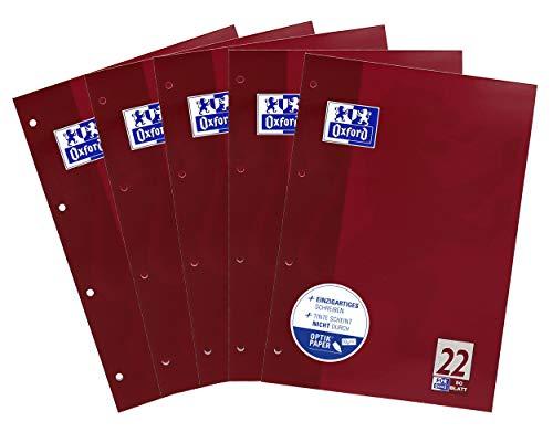 Oxford Schule Schulblock A4, kariert, 50 Blatt, violett, 5er Pack