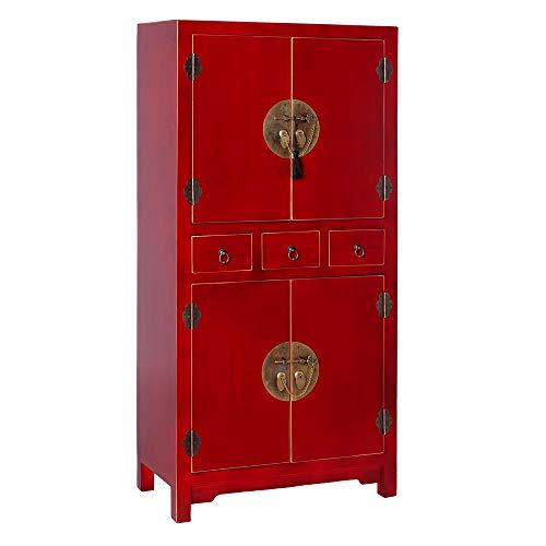 Armario de 3 cajones y 4 Puertas Oriental Rojo de Madera para Dormitorio Sol Naciente - LOLAhome