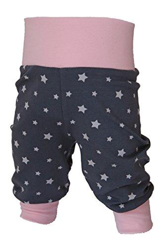 Babyhose, Pumphose Sternchen Mädchen, Kinderhose, Jerseyhose Hellrosa dunkelgrau mit Sternen von Tom & Lottchen (86/92)