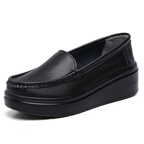 ZOVE Women's Lightweight Nursing Shoes Comfort Platform Food Service Shoe Restaurant Work Slip On Leather Loafers 855 All Black 37
