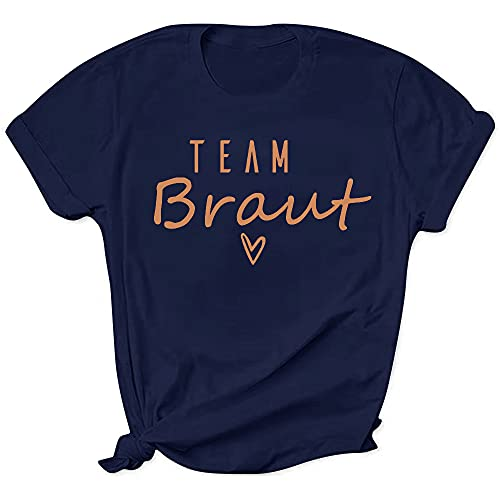 WOOD MEETS COLOR JGA Tshirt Frauen, Braut Tshirt, Junggesellenabschied Frauen T-Shirt, Team Braut Tshirt für Damen und Frauen(Team Braut Dunkelblau M)