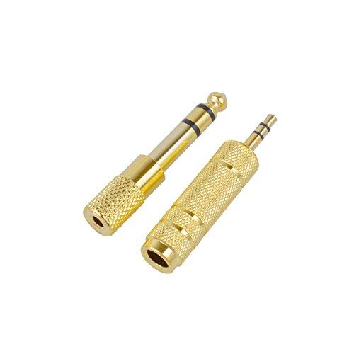CE-Link Wentronic - Adaptador de audio estéreo (clavija de 6,35 mm a clavija jack de 3,5 mm hembra y clavija jack de 6,35 mm a clavija jack de 3,5 mm, contactos dorados, 2 unidades), color dorado