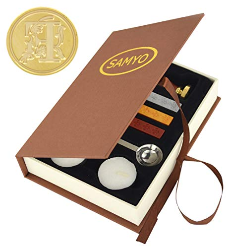 Samyo Wax Seal Stamp Kit Retro Creative Sealing Wax Stamp Maker Gift Box Set Brass Color Head with Vintage Classic Alphabet Initial Letter (F)