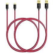 Anker [Pack de 2] Câble Micro USB de 90 cm en Nylon Tressé Anti-emmêlement, avec Connecteurs Plaqué Or, pour Smartphones Android, Samsung, HTC, Nokia, Sony et Autres