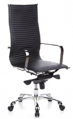 hjh OFFICE 660900 Bürostuhl Chefsessel CREMONA 20 Nappaleder schwarz chrom, design Klassiker, hochwertige Verarbeitung, hohe Rückenlehne, Schreibtischstuhl ergonomisch, Drehstuhl, XXL Chefsessel