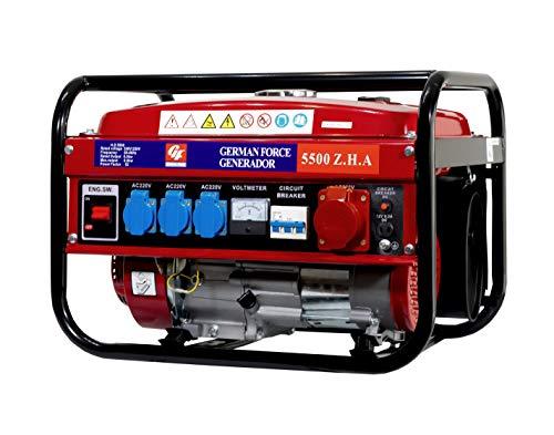 GERMAN FORCE GENERADOR ELECTRICO Gasolina 15L 5500W (1000W+1000W +1000W+2500W) TRIFASICO MONOFASICO Motor 4T 2 Modelos SIN Ruedas Y con Ruedas (SIN Ruedas)