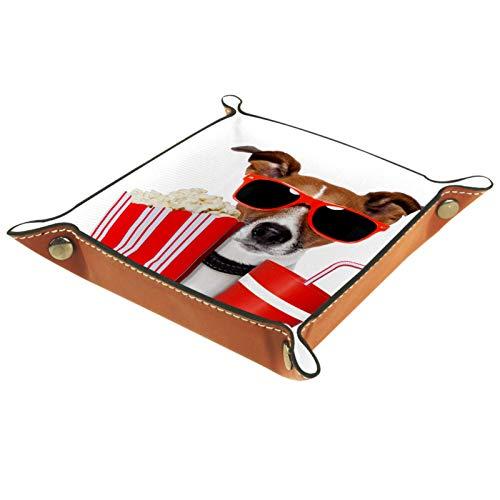 Eslifey Bandeja organizadora de gafas para ver películas de perros, bandeja de almacenamiento para mesita de noche, bandeja de escritorio, monedero, monedero, 20,5 x 20,5 cm