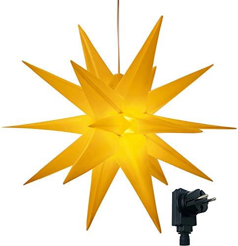 XXL Ø 100 cm 3D Leuchtstern inkl. warm-weißer LED Beleuchtung und Timer | für Innen und Außen geeignet (IP44) | hängend | 7,5 m Zuleitung (gelb)