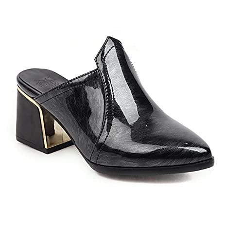 Zapatos casuales para mujer sin cordones sexy de viaje con espalda abierta antideslizante sandalias de tacón de bloque, Gray, 39 EU