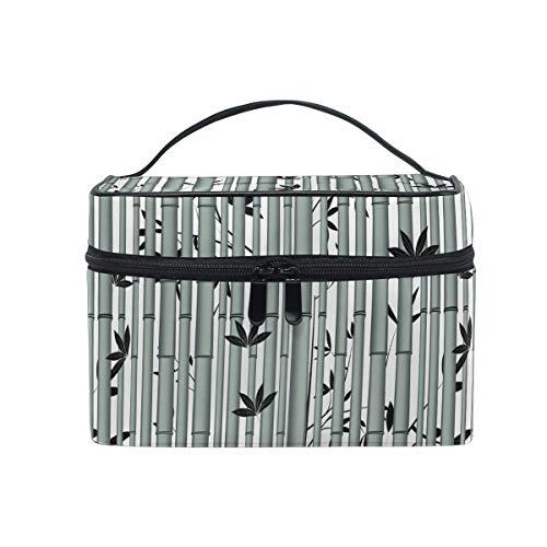 Ahomy Grand sac de maquillage en bambou Tropique en bois de forêt tropique portable de voyage Trousse de toilette organiseur pour femme