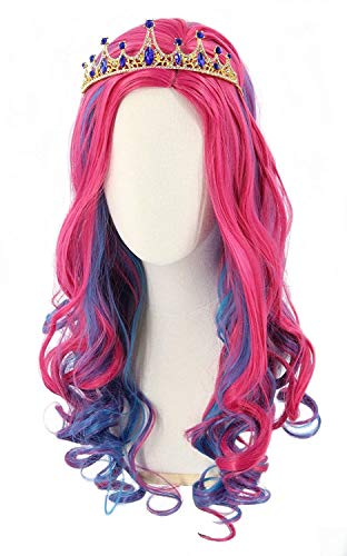 Topcosplay Kids Girls Wig Pink Blue Long Wavy Halloween Costume Party Wigs (Kids)