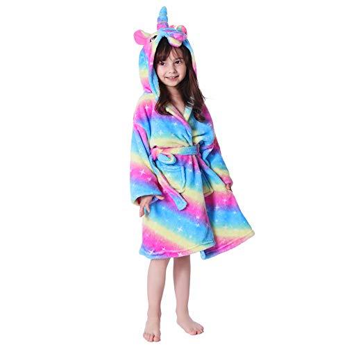 UsHigh Kids - Albornoz/bata con diseño de unicornio para niñas, en felpa suave, con capucha - Multi color - 4 años