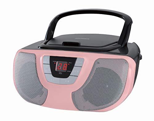 Sylvania Portable Cd Player Boom Box with Am FM Radio (Pink)