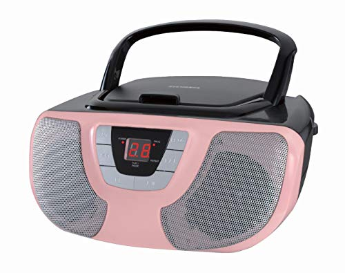Sylvania Portable Cd Player Boom Box with Am/FM Radio (Pink)