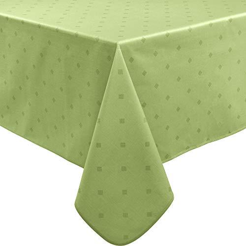 Erwin Müller abwaschbare Tischdecke, Tischwäsche Neuss im Rautendesign, grün Größe 110x140 cm - acrylversiegeltes Gewebe für leichtes Wischen (weitere Farben, Größen)