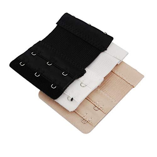BzzBee Pack de 3 extensores de sujetador para mujer, extensores de correa de sostén, extensión elástica, 2 filas y 3 ganchos, multicolor