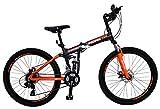 Bicicleta Plegable de Montaña Modelo 'Klamp' con Amortiguadores, Suspensión Delantera y Trasera, Rodada 26 21 Velocidades (Naranja)