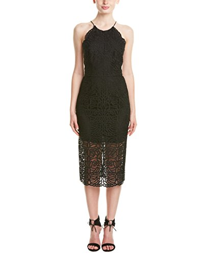 Cynthia Rowley Women's Black Lace Dress with Halter Tie, 12