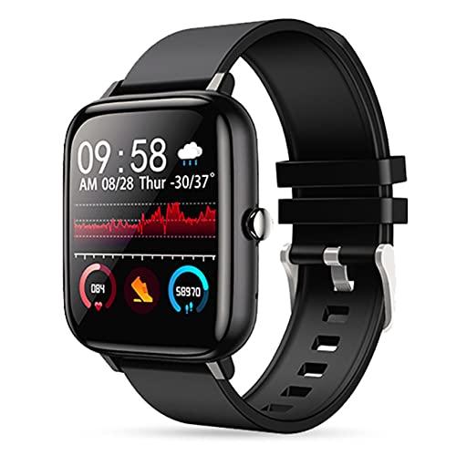 MARSPOWER P6 Smart Watch Impermeable Pantalla táctil Completa Rastreador de Ejercicios inalámbrico Monitoreo del Ritmo cardíaco Relojes Deportivos Pulsera para teléfono Android iOS - Negro