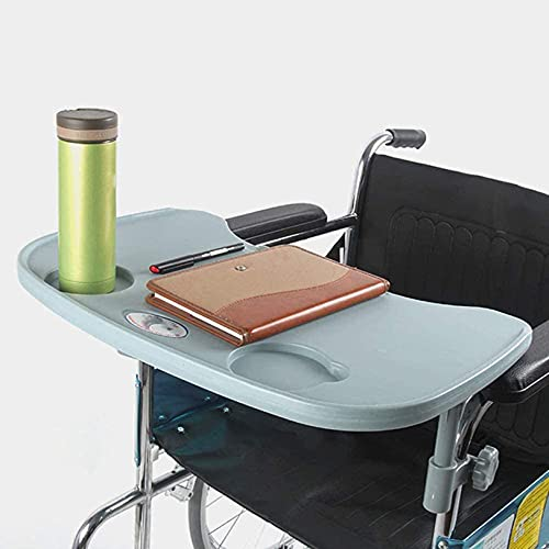 OMLTER Portable Wheelchair Lap Tray Table with Cup Holder, Durable Wheelchair Accessories Trays Desk for Eating, Reading & Resting