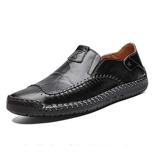 BAQI Handmade Shoes 2020 Autumn Casual Men's Single Shoes Trend Large Size Men's Shoes Flat Heel Youth Outdoor Leather Shoes,black,48