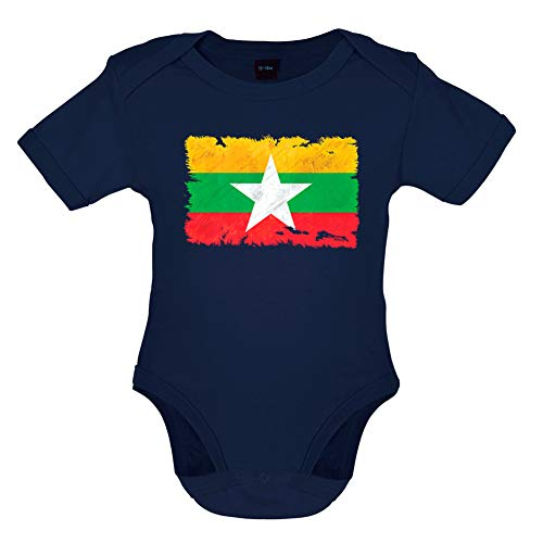 Dressdown Burma Myanmar Grunge Style Flag - Organic Babygrow/Body Suit - Nautical Navy - 12-18 Months