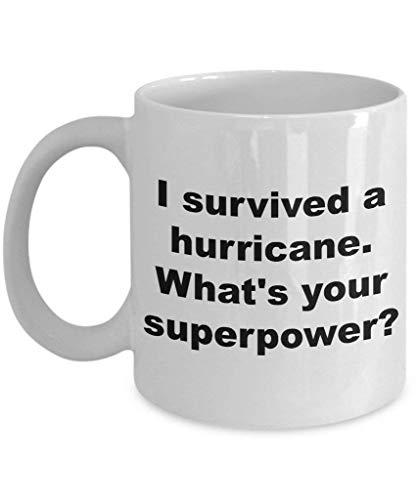 Taza de café Dason I Survived Hurricane Irma Harvey Cyclone Survivor Whats Your Superpower Idea de regalo 2017 Florida Texas, regalo de Navidad 836542