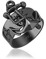 عتيق خاتم رجالي، فضة استرليني ، 925 فضة - رمادي داكن
