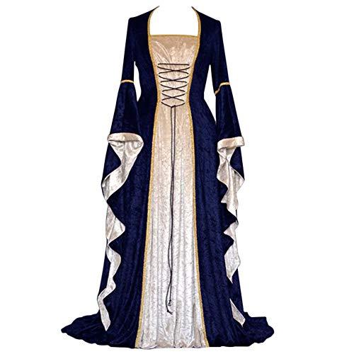YunFeel Vestido Medieval para Mujer, Disfraz de renacentista, Vestido Retro irlandés, Cosplay sobre Vestidos Largos - Azul - S