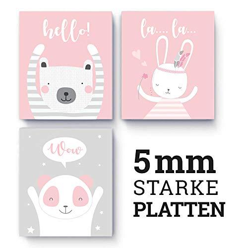 (M52) 3x 3D-Poster, Poster für Kinderzimmer und den Bilderrahmen, Kinderposter, Babyzimmer, Baby Bilder, Dekoration, Wanddeko 17 x 20 cm (rosa)