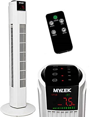 MYLEK Tower Fan with Remote Control, Oscillation and Timer for Bedroom/Kitchen/Office (White, 31 Inch)