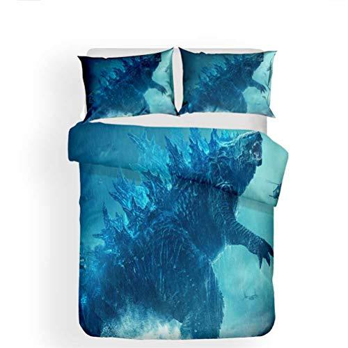 LanS Dinosaur monster Godzilla animal series duvet cover bedding Set, duvet cover and pillowcase, 3 Piece Set bedding (duvet cover + 2 pillowcases) soft/health/No allergy (C,AU-Single-140x210cm)