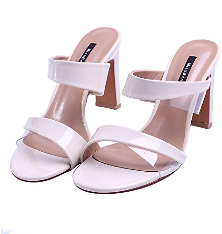 GTVERNH-Women's Ladies Fashion Summer Lacquer Cold Drag Toes Belt Fashion 8Cm Rough Heel Summer Sandals Women.