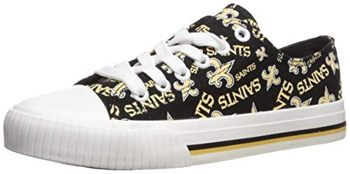 FOCO NFL Womens Low Top Repeat Print Canvas Shoe: New Orleans Saints, Large