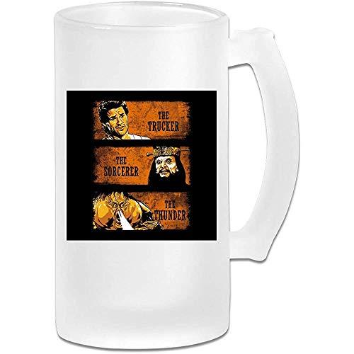 Gedruckte 16oz Milchglas Bier Stein Tasse Tasse - Der Trucker Der Zauberer und der Donner - Grafikbecher