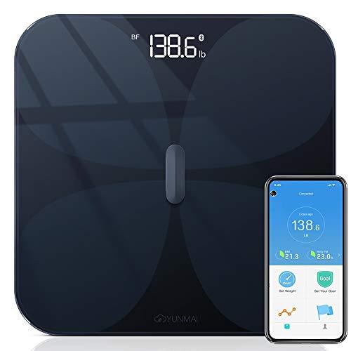 YUNMAI PRO Báscula Baño de Grasa Corporal Inteligente Báscula de Peso Digital Monitor de Composición con Bluetooth, Vidrio ITO, Máximo 180 kg para Andriod e iOS (Negro)