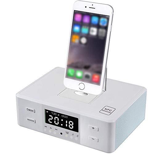 Mars Jun-- docking station draadloze Bluetooth luidspreker dubbele wekker FM-radio met afstandsbediening laadstation Drie-in-1 draaibare basis voor elke iPhone Android iPad iPod laden en afspelen wit