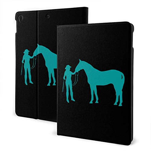 liukaidsfs Teal Cowgirl and Horse Slim Lightweight Smart Shell Stand Cover Case for iPad Air3 & pro (10.5-Inch,Auto Wake/Sleep)