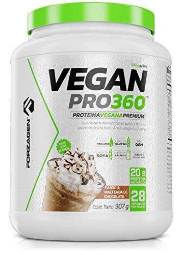 FORZAGEN | Proteina Vegetal Vegan Pro 360 | Proteína 100% Vegana | 2 lb (907 g) | 28 Servicios x Envase | Delicioso Sabor a Malteada de Chocolate | 20 g de Proteína de Origen Vegetal por Servicio | A Base de Proteína de Chícharo, Arroz Integral y Quinoa | Sin Organismos Geneticamente Modificados (Non GMO) | Libre de Soya | Libre de Gluten | Endulzado Naturalmente con Stevia | Ideal para Veganos y Vegetarianos | Bebida Pre-Post-Intra Entrenamiento | Fácil y Rápida Preparación | Suplemento Gym