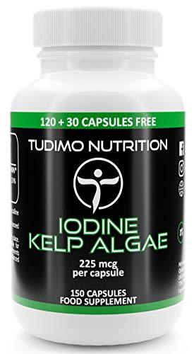 Iodine Sea Kelp Extract 225 mcg Capsules - 150 pcs (5 Month Supply) of Rapidly Disintegrating Capsules, Each with 225mcg of Premium Quality & Pure Iodine Sea Kelp Powder, by TUDIMO