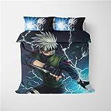 Parure de lit DFTY Naruto Kakashi Uchiha Itachi Akatsuki Sasuke Anime - Parure de lit pour fille et enfant - Avec housse de couette et taie d'oreiller