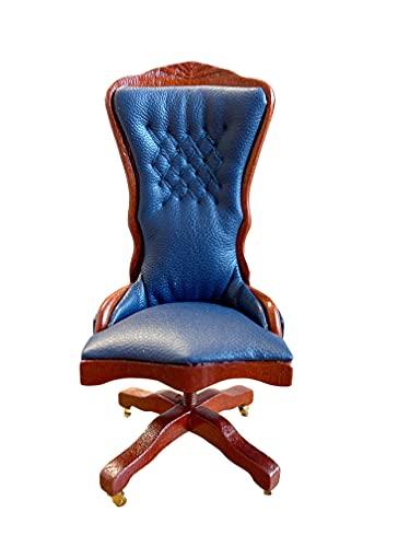 Melody Jane Casa de Muñecas Nogal & Azul Escritorio Silla Miniatura Estudio Oficina Muebles 1:12 Escala