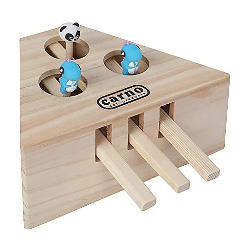 Binggong Bewegliches Katzenspielzeug,Interaktives Spielzeug für Katzen Whack Mole Maus Trainieren Jagd Crazy Intelligenz-Beschäftigungsspielzeug,Wooden Cat Hunt Toy Kätzchen Spielzeug (A)