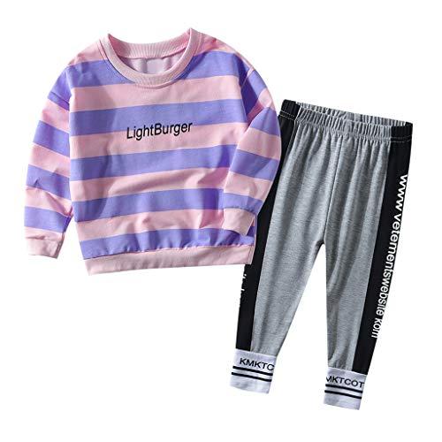 Kleinkind Baby Kinder Mädchen Patchwork Brief T Shirt Tops + Streifen Hosen Outfits