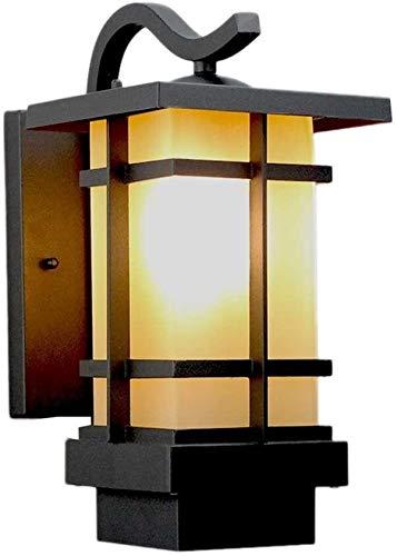 LWJPP Negro de la vendimia de la pared exterior de la linterna con aluminio fundido a presión Plaza del vidrio esmerilado de la lámpara de pared for Pantallas de iluminación al aire libre Porche Pilar